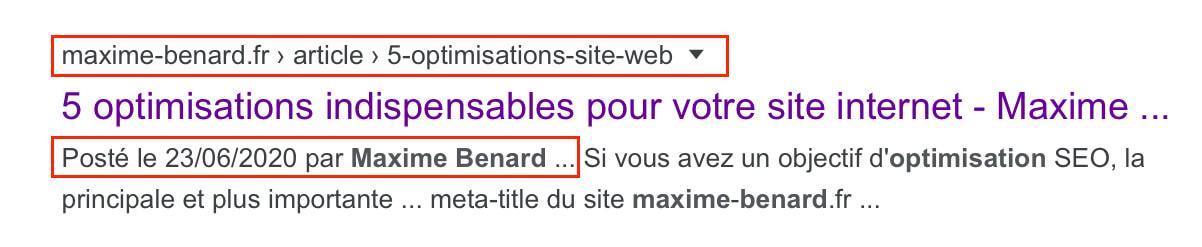 Exemple d'une balise schema sur GoogleSearch