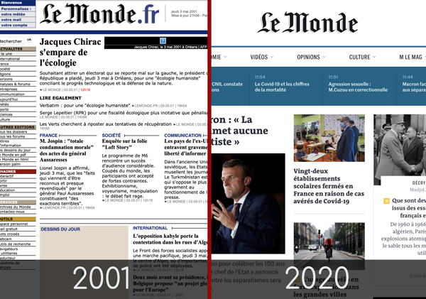 Exemple de avant après du site Le Monde