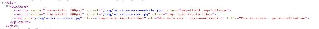 Lignes de code pour afficher une image de taille différente sur ordinateur et sur mobile